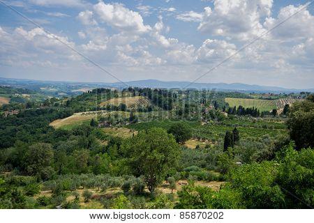 View of Tuscany from San Gimignano, Italy