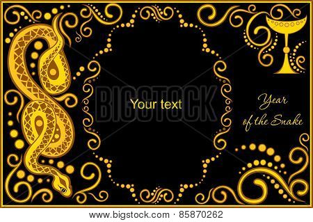 Vector Template With Sign Chinese Horoscope - Snake.eps