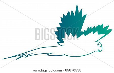 Logo blue parrot. Abstract silhouette of the bird. Vector illustration