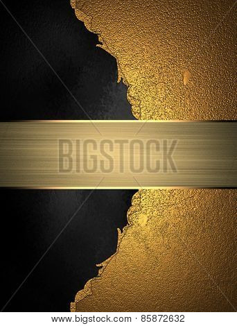 Template For Design. Abstract Gold Texture With Black Background With Gold Nameplate