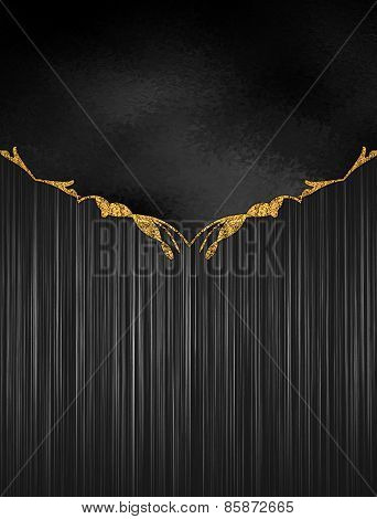 Template For Design. Black Striped Texture With Black Pattern With Gold Decoration