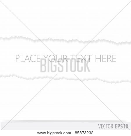 White paper torn in the middle with a white background