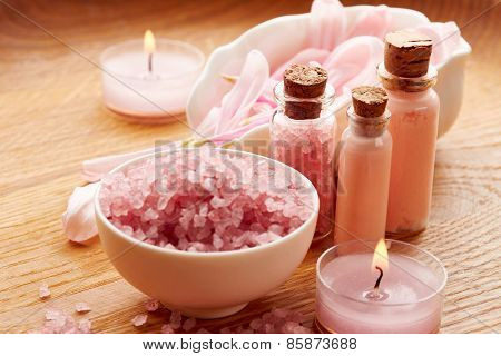 Spa Still Life With Sea Salt And Flower Petals