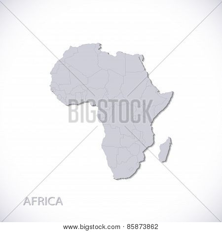 Grey Africa Map Vector Illustration