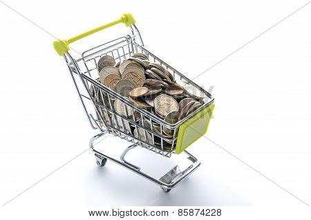 Grocery Cart Full Of Russian Coins.