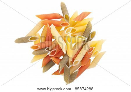 Penne Rigat Three Species On A White Background Isolated..