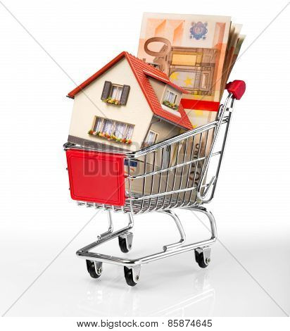house in shopping-cart with euro bills