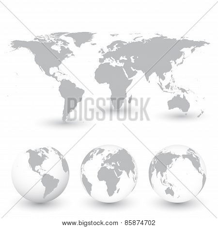 Grey World Map and Globes vector Illustration