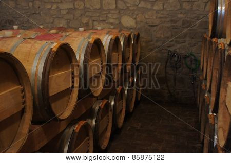 Winery storage barrels