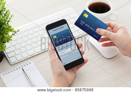 Female Hands Holding Phone With Mobile Wallet For Online Shopping