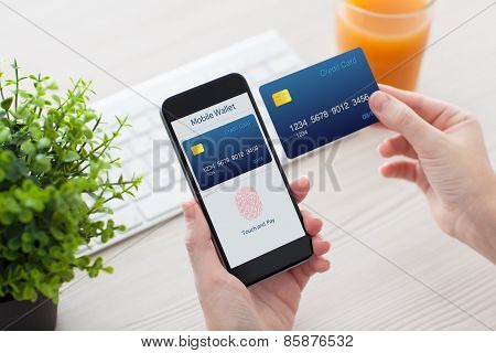 Female Hands Holding Phone With Fingerprint For Online Shopping