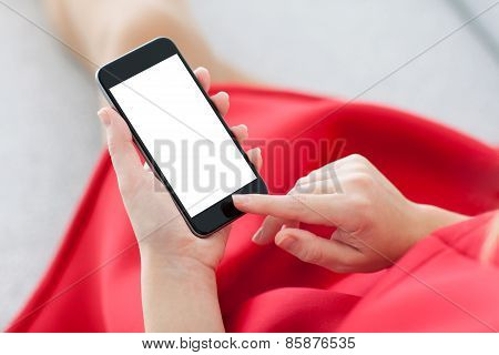 Woman In A Red Dress Holding Phone With Isolated Screen