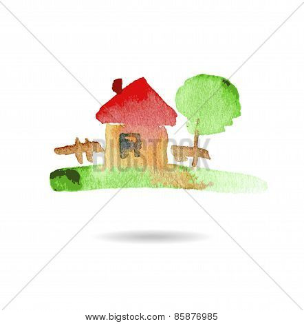 Watercolor hand drawn village house