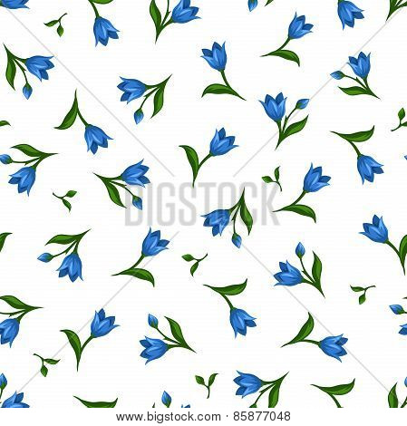 Seamless pattern with blue flowers. Vector illustration.