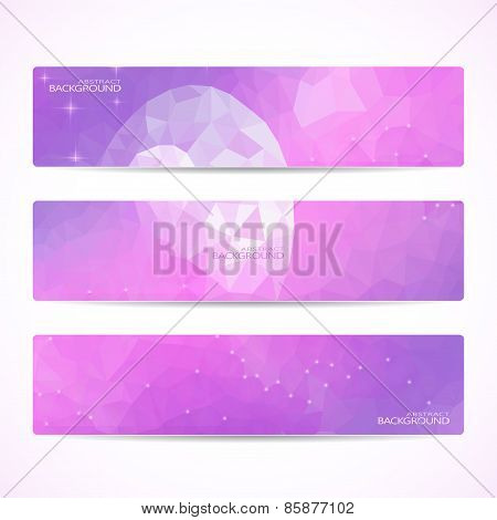 Collection of the 3 purple web banners . Abstract Moon Polygonal background . Can be used for your d