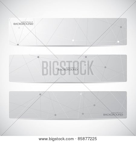 Collection of horizontal banner design. Molecule and communication background. Vector illustration