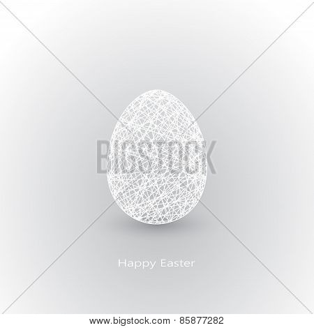 White Easter egg in geometry style with place for your text