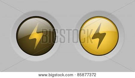 Vector Yellow Glass Energy Buttons