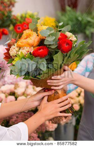 Close up of a floral bouquet