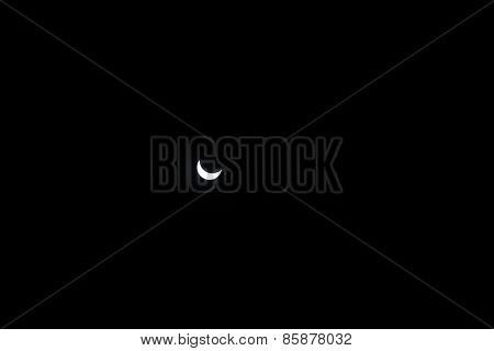 Partial Sun Eclipse. Close-up Sun On Dark Background