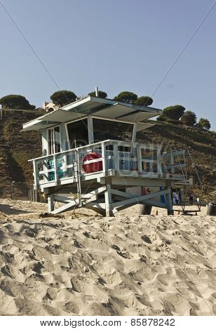 Life Guard Tower In Malibu Beach