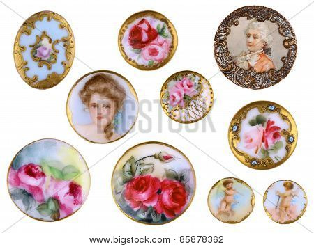 Old Sewing Victorian Porcelain Shirt Buttons c1890