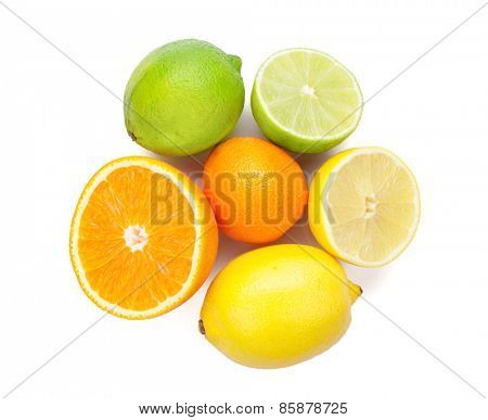 Citrus fruits. Oranges, limes and lemons. Isolated on white background