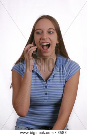 Teen Girl Laughing On Phone 2