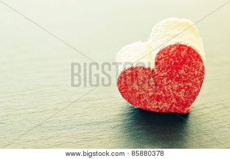 Valentine cakes on a bleak  backgraund