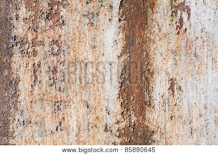 Old Grunge Metal Wall With Red Rust. Texture