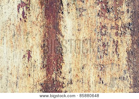 Old Grungy Metal Wall With Red Rust. Texture