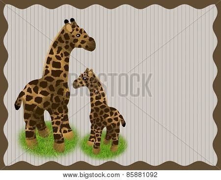 Mother and Baby Giraffe Background