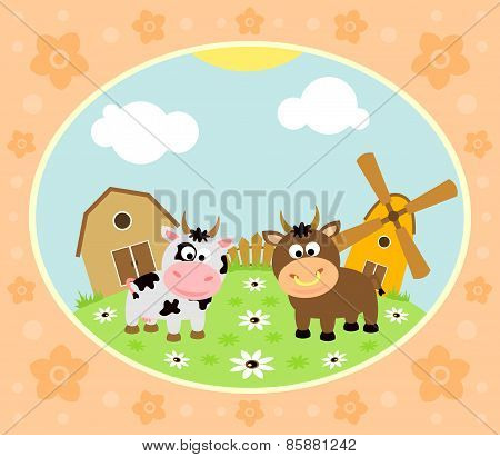 Farm background with cow and bull