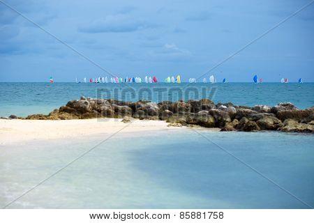 Colorful sailing boats on the sea. Florida Keys