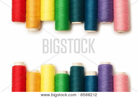 Rainbow Colored Threads Set Isolated Over White Background