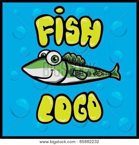 Funny fish cartoon logo