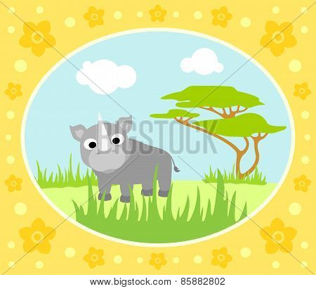 Safari background with rhino