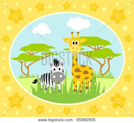 Safari background with zebra and giraffe