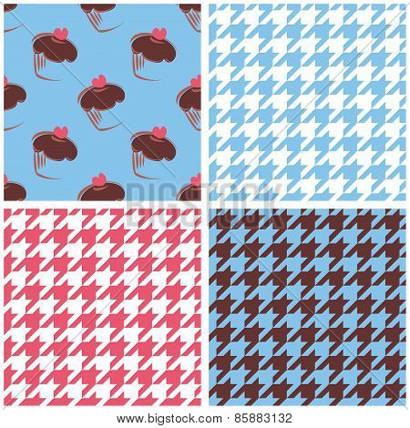 Tile vector wallpaper background set with houndstooth and cupcakes