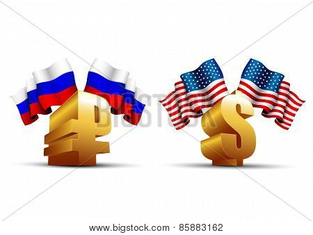 Gold Ruble And Dollar Icons