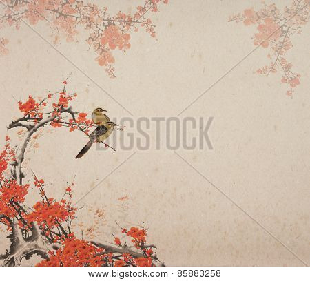 plum blossom and birds on old antique paper texture