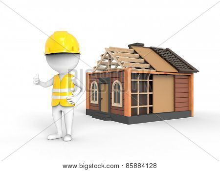 Engineer near the house