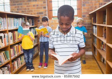 Pupils looking for books in library at elementary school
