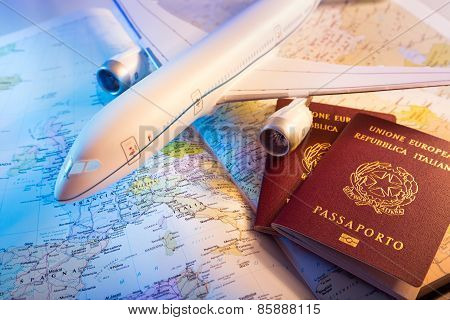 passport, airplane and map of Europe