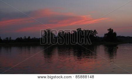 Pink Sky Over Lake Pfaffikon