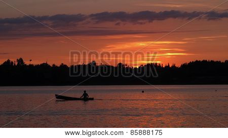 Little Boat On Lake Pfaffikon At Sunset
