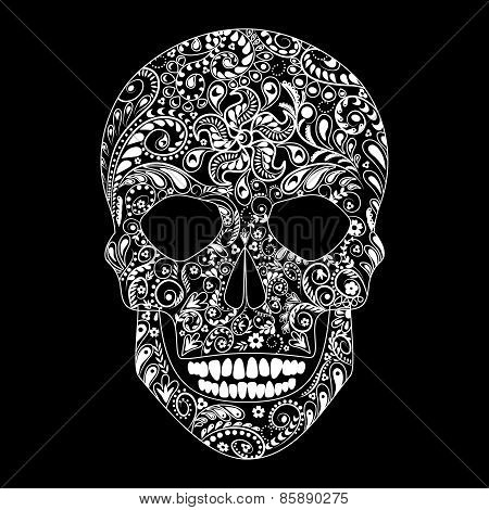 Human Skull In Floral Shape