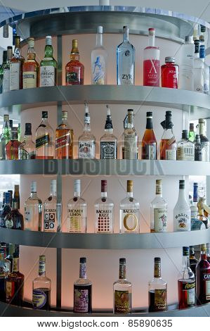 Liquor Bottles At A Bar