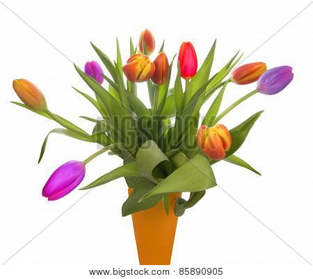 Orange Vase full of colorful Tulips