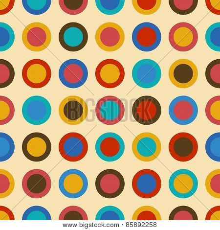 Vintage Background Seamless Pattern With Colorful Circles
